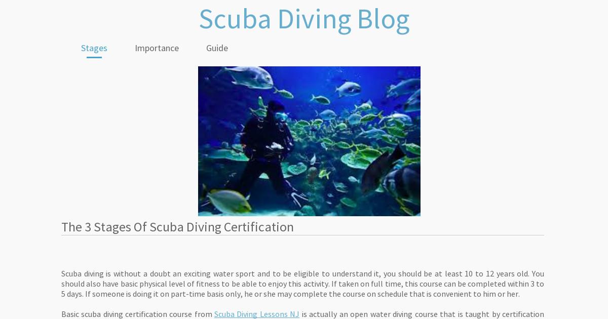 Scuba Diving Blog Stages